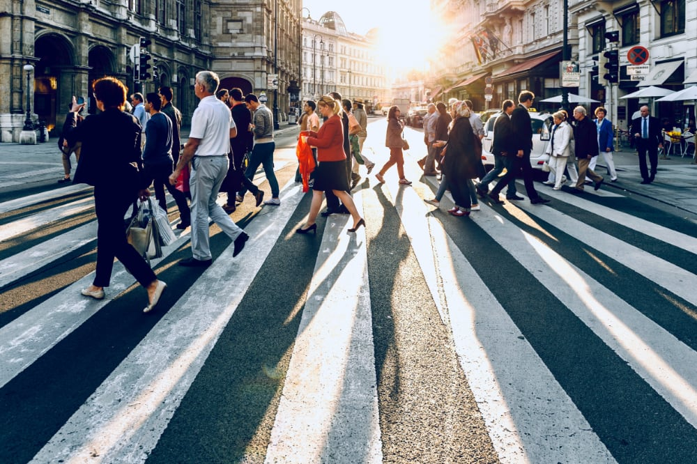 Pedestrians on a zebra crossing